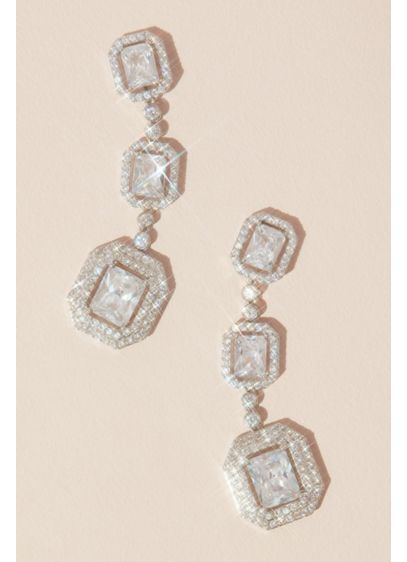 Emerald Cut Haloed Cubic Zirconia Drop Earrings - Three statement emerald-cut crystals surrounded by faceted pave