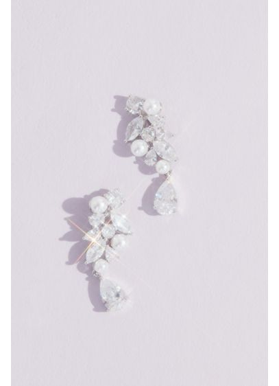 Clustered Crystal and Faux Pearl Earrings - Wedding Accessories