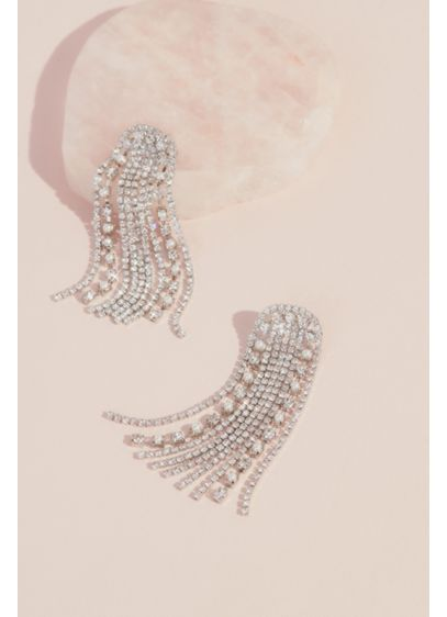 Arched Crystal Fringe Earrings - Wedding Accessories