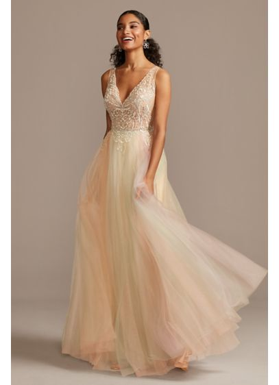 Embellished Illusion Multi-Color Tulle Ball Gown - Embroidered scrolls and swirls embellish the cup-lined illusion