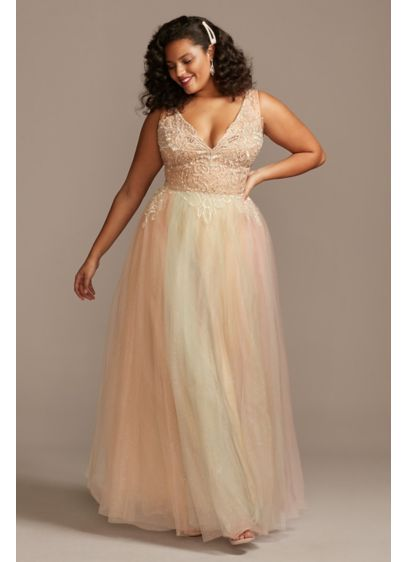 Embellished Illusion Multi-Color Plus-Size Gown - Embroidered scrolls and swirls embellish the cup-lined illusion