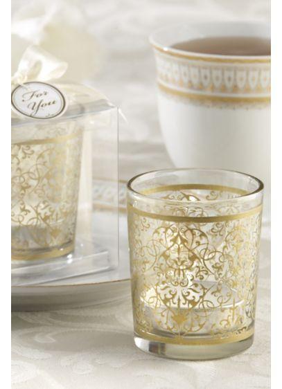 Golden Renaissance Glass Tea Light Holder Set - Wedding Gifts & Decorations