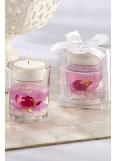 Orchid Gel Tea Light Holders - Set of six Packaged in showcase gift box;