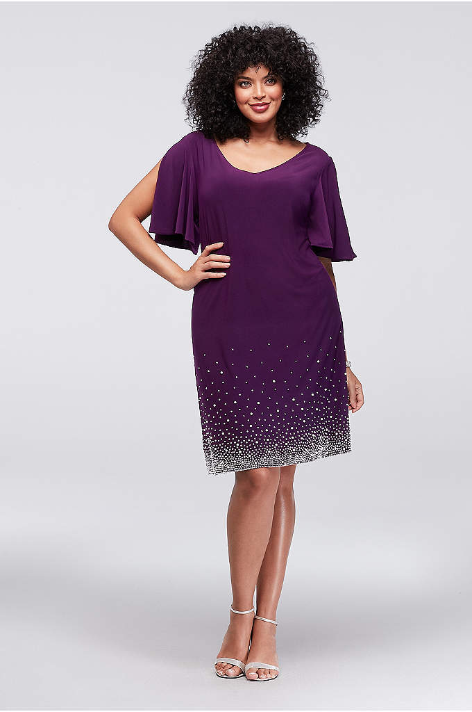Jersey Sparkle Hem Plus Size Split-Sleeve Shift - Lustrous pearls and gleaming crystals add wow-power to