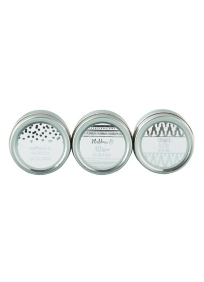 Personalized Silver Foil Candle Tin - A uniquely thoughtful favor, the Personalized Silver Foil