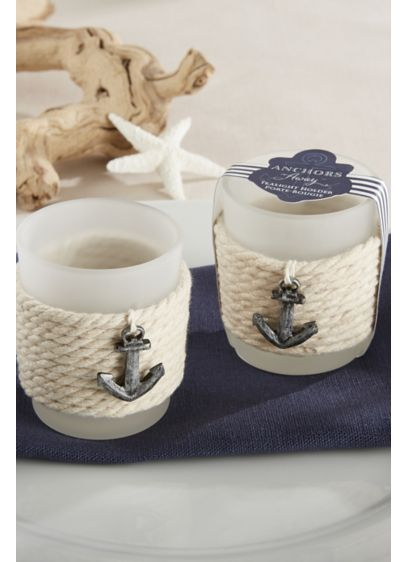 Frosted Glass and Rope Anchor Tea Light Holders - Set of four Includes tealight candles Glass, cotton