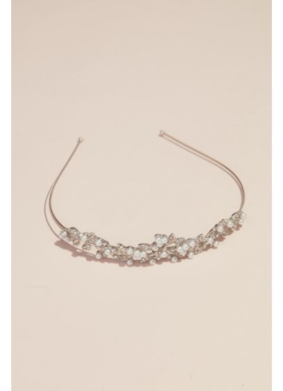 Clustered Faux Pearl and Crystal Flower Girl Tiara - Your littlest leading lady will feel like a