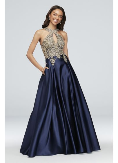 Metallic Lace and Satin Round Neck Ball Gown - Gold corded lace adds bright shine to the
