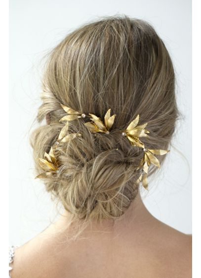 Gilded Grecian Hair Combs Set - Scatter these warm gold, Grecian-inspired combs throughout your
