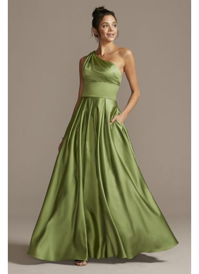 One Shoulder Satin Strappy Back Ball Gown - A traditional ball gown silhouette gets transformed in