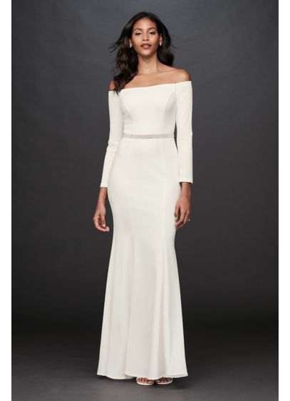 Long Sleeve Stretch Crepe Off-the-Shoulder Sheath - Sleek and effortless, this modern, body-hugging stretch-crepe gown