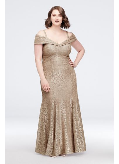 Cold-Shoulder Glitter Lace Plus Size Mermaid Dress | David\'s Bridal