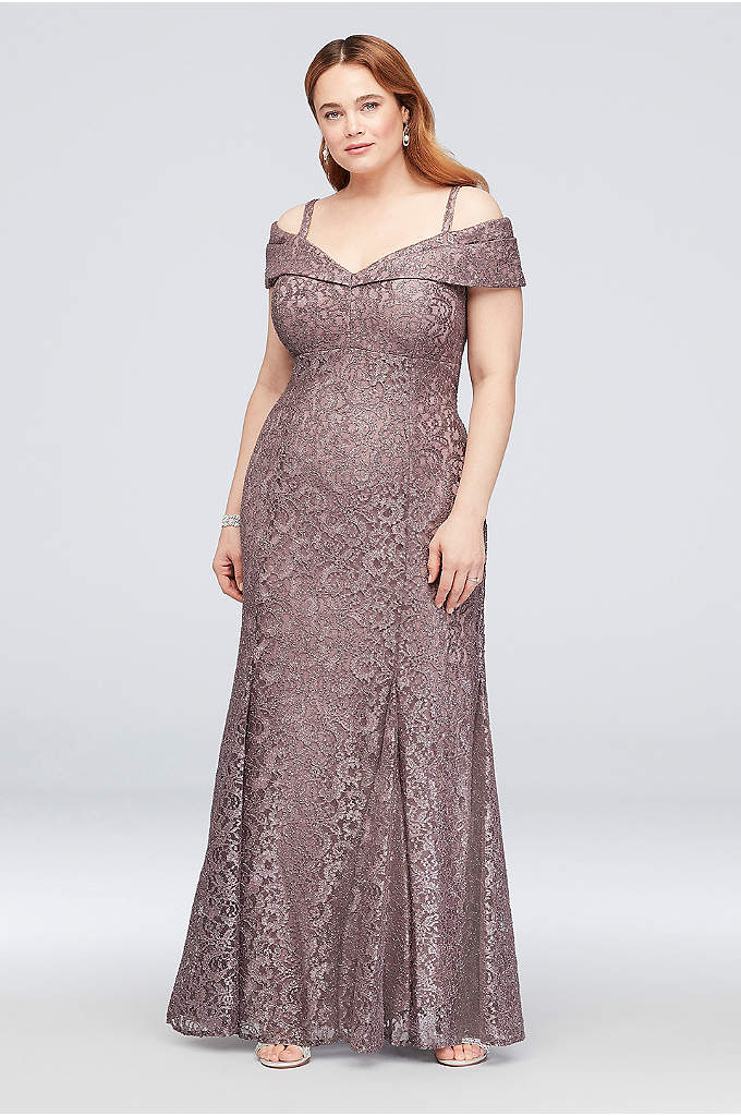 Cold-Shoulder Glitter Lace Plus Size Mermaid Dress - This sleek, stretch-lace mermaid plus-size dress glitters under