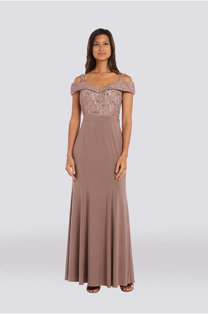 Cold-Shoulder Glitter Lace and Jersey Mermaid Dres - This sleek, stretch-lace and jersey mermaid dress glitters