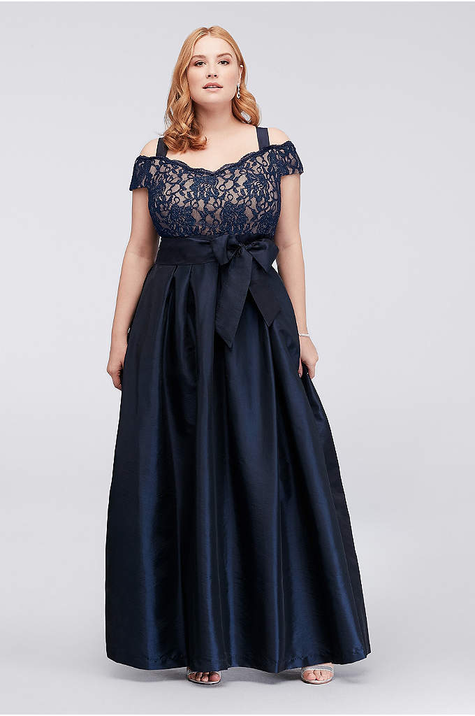 Pleated Taffeta Plus Size Dress with Lace Bodice - A traditional taffeta plus-size ball gown for the
