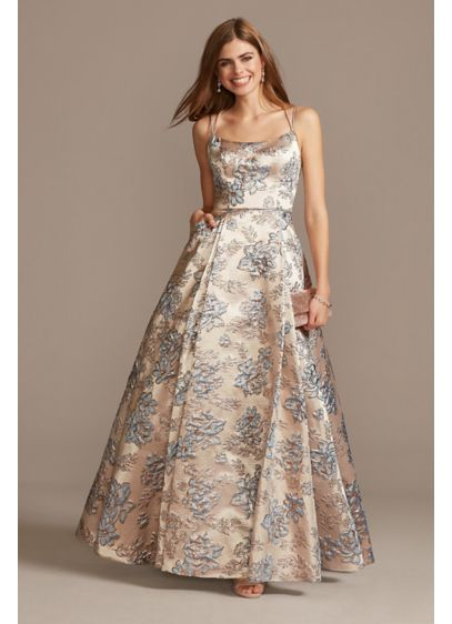 Metallic Brocade Double Spaghetti Strap Ball Gown - For a classically charming prom look, this ball