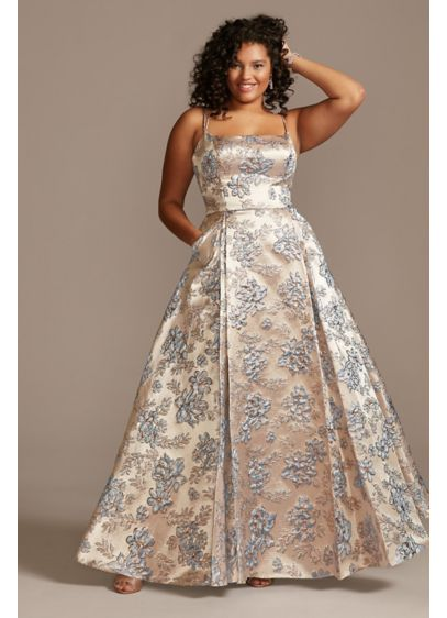 Metallic Jacquard Spaghetti Strap Plus Size Gown - For a classically charming prom look, this plus-size