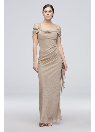 Glitter Chiffon Off-the-Shoulder Cascade Sheath - Brilliant glitter chiffon takes this figure-flattering ruched sheath