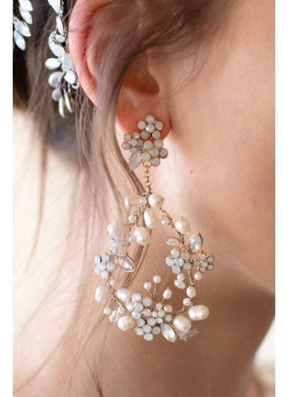 Baby's Breath Floral Pearl Earrings - Wedding Accessories