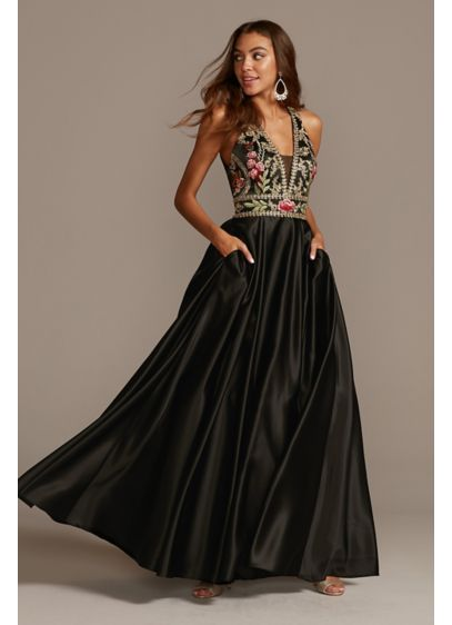 Floral Embellished Halter Satin Ball Gown - This luxe satin halter gown is embroidered at