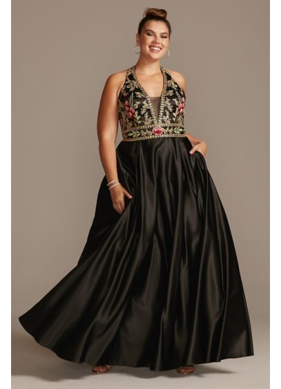 Floral Embellished Halter Satin Plus Size Gown - This luxe satin halter plus-size gown is embroidered