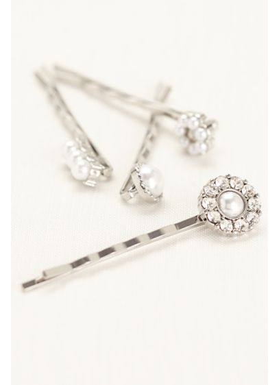 Pave and Pearl Set of Hairpins - Wedding Accessories