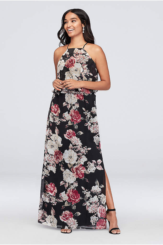 High-Neck Floral Printed Chiffon Sheath Dress