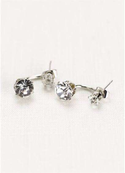 Front and Back Crystal Stud Earrings - Wedding Accessories