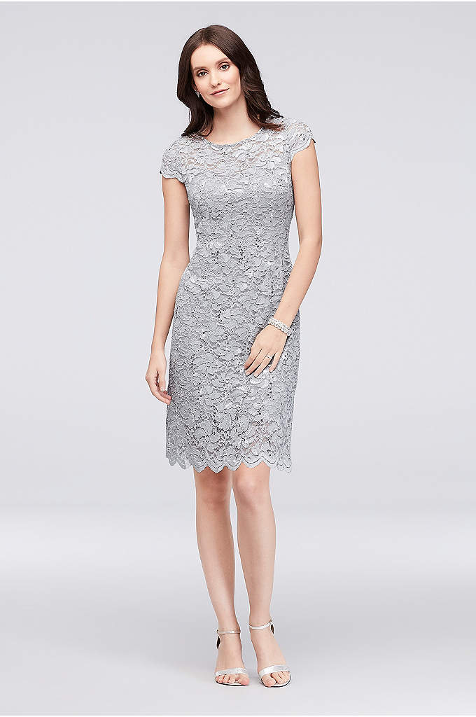 Sequin Lace Scoopneck Short A-Line Petite Dress - A classic petite dress for the mother of