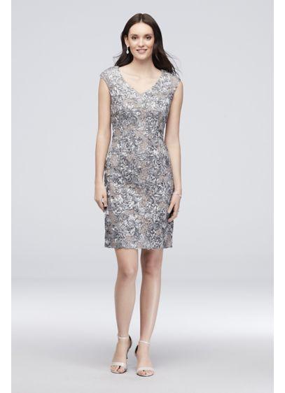 Short Grey Soft & Flowy Alex Evenings Bridesmaid Dress