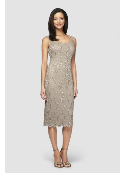 Sequin Lace Petite Tea-Length Dress and Jacket - This lovely tea-length petite tank dress is crafted