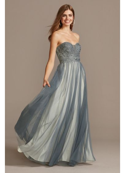 Corded Lace Embellished Plunge Bodice Tulle Gown - This strapless ball gown features an illusion plunge