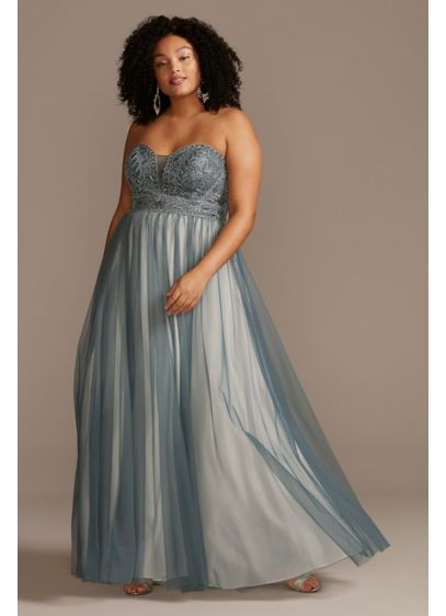 Corded Lace Embellished Bodice Plus Size Gown - This strapless plus size ball gown features an