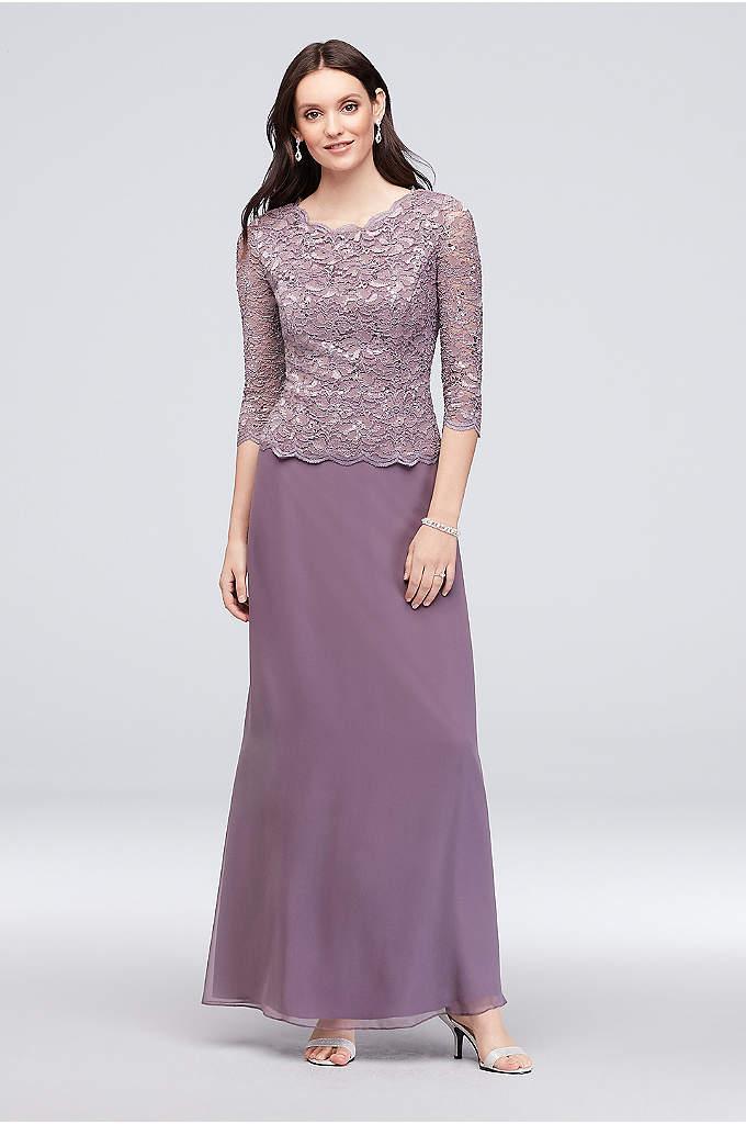Metallic Lace and Chiffon Petite Sheath Dress - This elegant chiffon petite sheath dress is infused