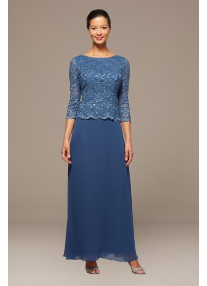 Scalloped Lace and Chiffon Petite Gown - With the look of a perfectly matched ensemble,