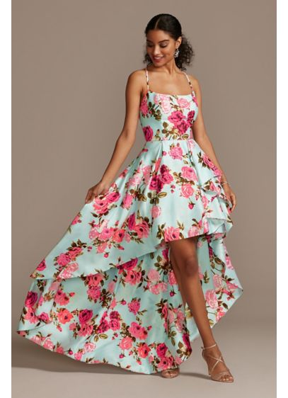 Floral High Low Dress with Back Cutout - From the vibrant floral print to the dramatic