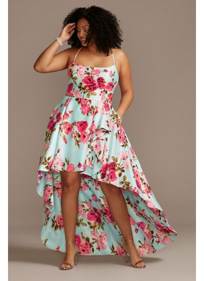 Floral Plus Size High Low Dress with Open - From the vibrant floral print to the dramatic