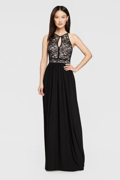 Lace Keyhole Halter Dress With Jersey Skirt David S Bridal