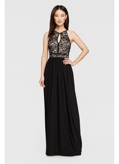 265cb02efa9 Lace Keyhole Halter Dress with Jersey Skirt. 21348. Long Black Soft & Flowy  Nightway Bridesmaid Dress