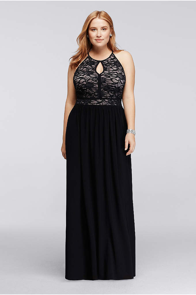 Lace Keyhole Halter Neckline Dress - The perfect classic evening dress that features a