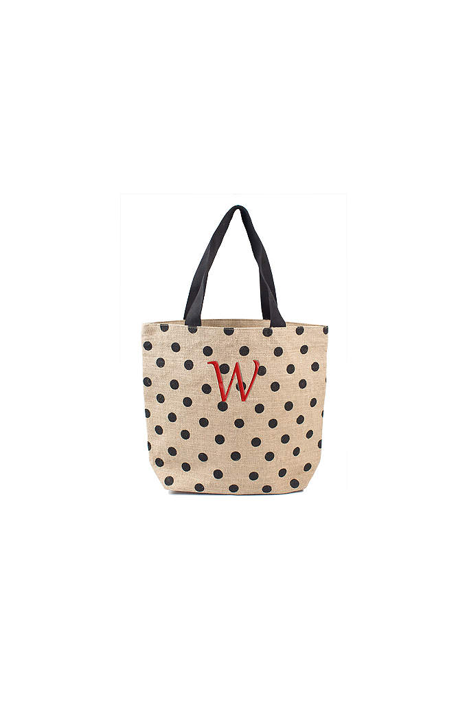 DB Exclusive Personalized Polka Dot Jute Tote Bag - These Polka Dot Natural Jute Tote bags are