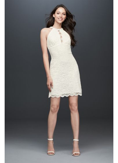 Short Halter Wedding Dress with Keyhole Cutout - This fun yet sophisticated short lace dress is