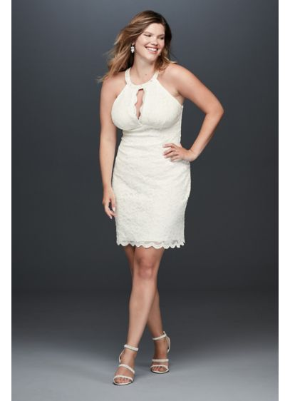 Short Plus Size Wedding Dress With Keyhole Cutout David S Bridal