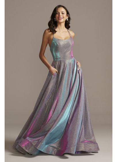 Lace-Up Back Metallic Iridescent Glitter Dress - For a mod, futuristic vibe for prom or