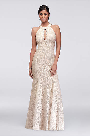 Long Glitter Lace Halter Dress with Keyhole Neck