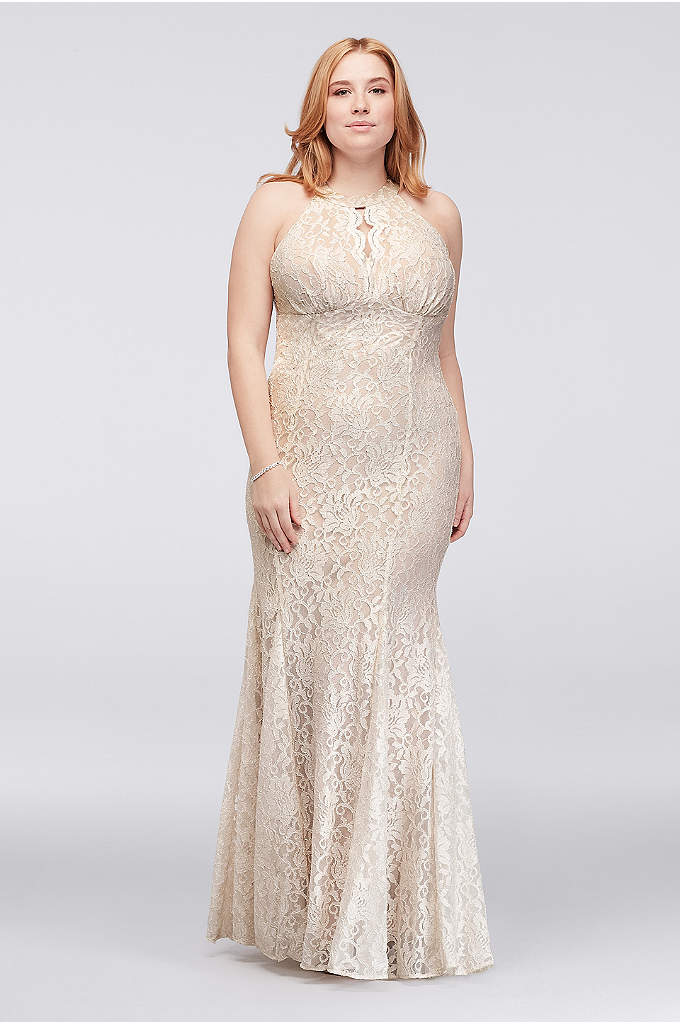 Long Glitter Lace Halter Plus Size Dress - Sleek and simple, this glitter lace column plus
