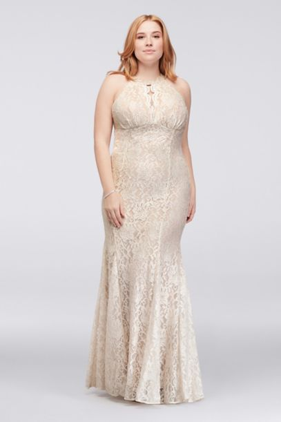 Long Glitter Lace Halter Plus Size Dress David S Bridal
