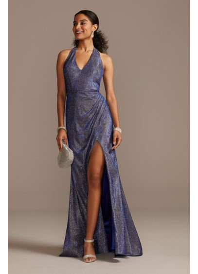 Metallic Glitter Halter Gown with Ruched Slit - This halter gown has out-of-this-world glam factor. The
