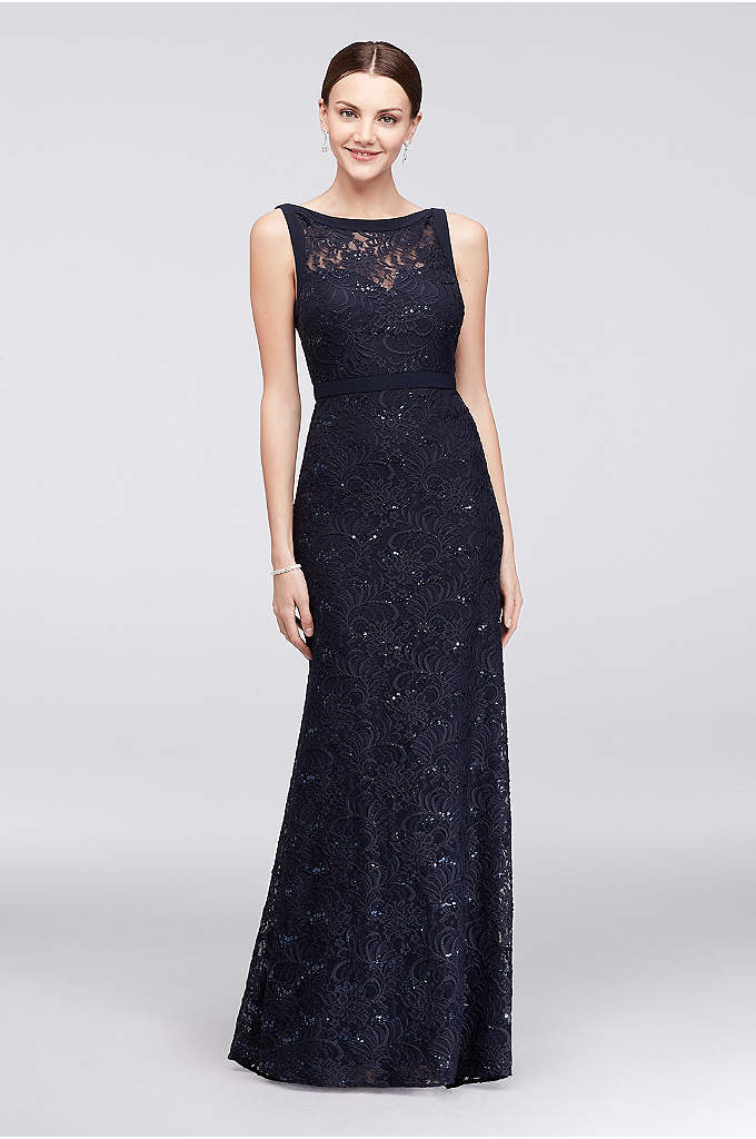 High-Neck Lace Mermaid Dress with Tonal Seaming - Sleek seams trace the neckline and waist of