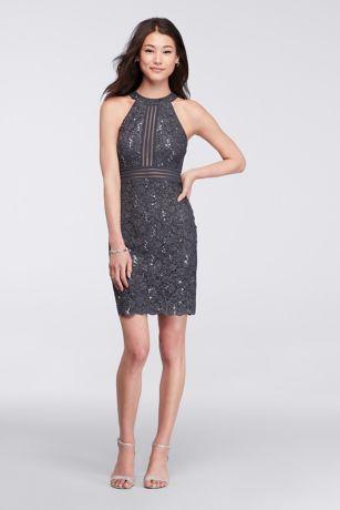 f6e91440a720 Short Sleeveless Lace Dress with Illusion Banding | David's Bridal